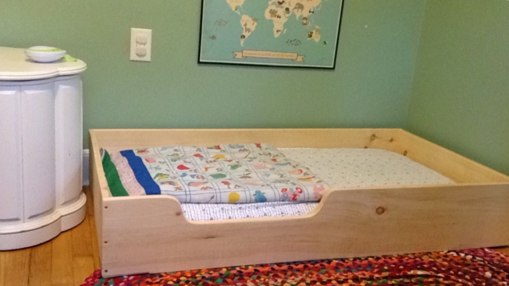 Floor Bed Frame with Crib Mattress